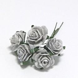 Papírová růžička 2cm, stříbrošedá, 5ks