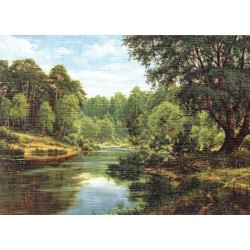 Reprodukce obrazu 18x13 - Řeka u lesa