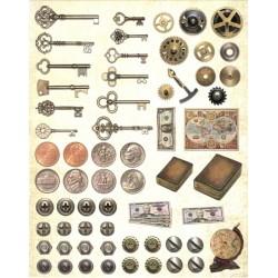 Papírové výseky - Klíče, mince, šrouby