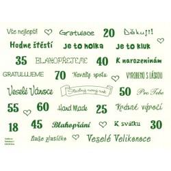 Samolepky - české texty, tmavě zelená