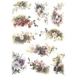 Papír rýžový A4 Různé kytice s větvičkami