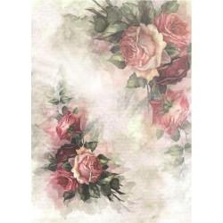 Papír rýžový A4 Růže v rozích