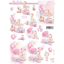 Papír 3D A4 Dětský v růžové