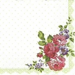Květy v rohu, zelené puntíky 33x33