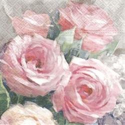 Růže pastelová malovaná 33x33