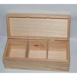 Dřevěná krabička na čaj - 3 komory (NEM)