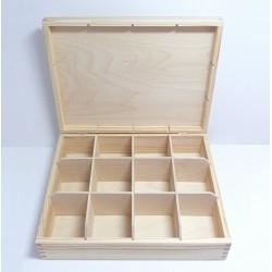 Krabička na čaj 12 komor (bez zámečku) - menší (NEM)