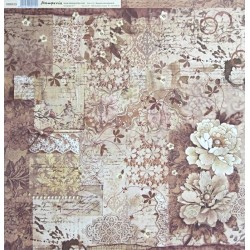 Stará krajka, květy 30,5x30,5 scrapbook