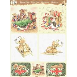 Papírové výřezy 3D - Medvídci o Vánocích (2 listy)