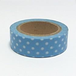 Papírová páska 15mm/10m - modrá s bílými puntíky