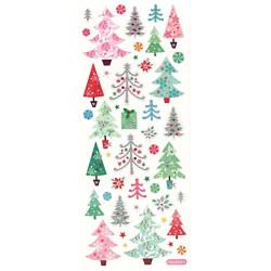 Samolepky třpytivé Vánoční stromečky a cesmína