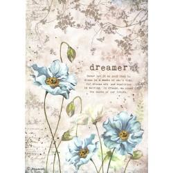 Papír rýžový A4 Modré květiny