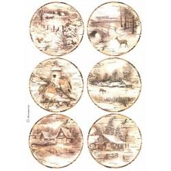 Papír rýžový A4 Zimní motivy v sépiové