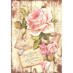 Papír rýžový A4 Sladký čas, velká růže