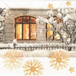 Zimní s rozzářeným oknem 33x33