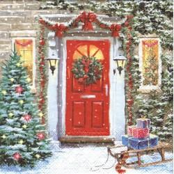 Dveře s vánoční dekorací 33x33