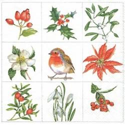 Devět motivů, květy a ptáček 33x33