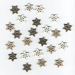 Dřev.dekorace hnědé - hvězdy 2cm, 24ks