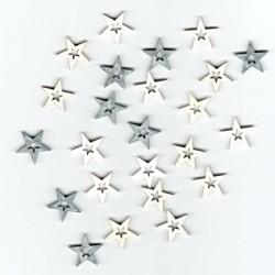 Dřev.dekorace šedé - hvězdy 2cm, 24ks