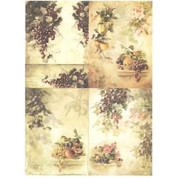 Papír rýžový A4 Ovoce a růže, čtyři obrázky