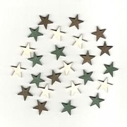 Dřev.dekorace hnědé a zelené - hvězdy 2cm, 24ks