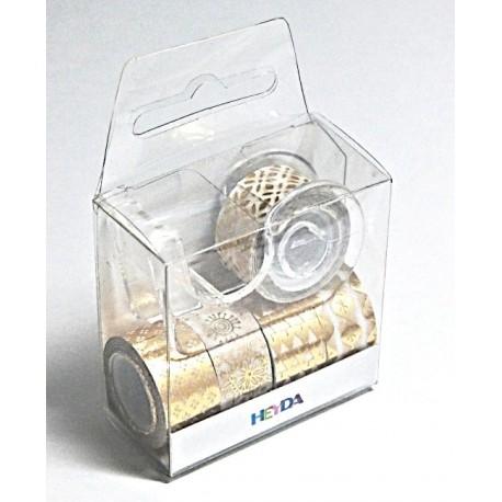 Sada 5ks papír.mini pásek, zlatobílé, 1,2cmx3m