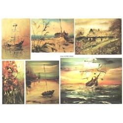 Papír rýžový A4 Obrazy lodí