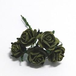 Papírová růžička 2cm, olivově zelená, 5ks