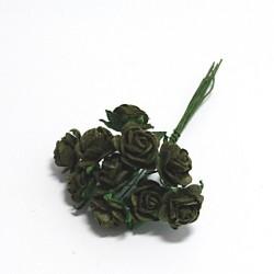 Papírová růžička 1,5cm, olivově zelená, 10ks