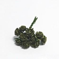 Papírová růžička 1cm, olivově zelená, 10ks