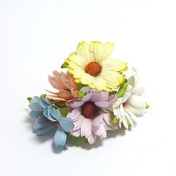 Papírová chryzantéma 4cm, mix barev pastelový, 5ks