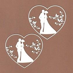 Letní svatba, srdce - 2ks chipboards