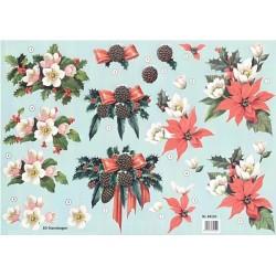 Papírové výřezy 3D - Vánoční květy a šišky