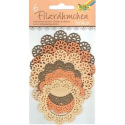 Filcové rámečky kulaté - hnědé odstíny