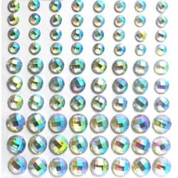 Kamínky samolepící 80ks krystaly s duhovým odleskem