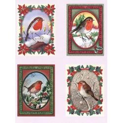 Papírové výřezy 3D - Ptáčci v zimě (2 listy)