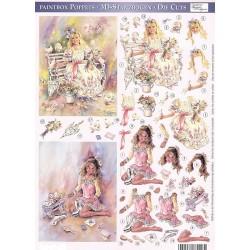 Papírové výřezy 3D - Malované děti, princezna, bruslařka