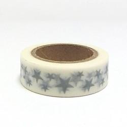 Papírová páska 15mm/10m - hvězdičky šedé