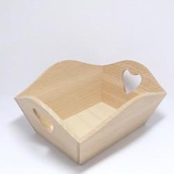 Dřevěná miska na ovoce se srdíčky, obdélník
