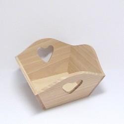 Dřevěná miska na ovoce se srdíčky, čtverec