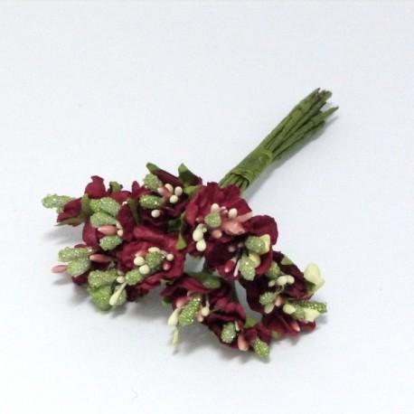 Kytička papírových vánočních květů, 12ks