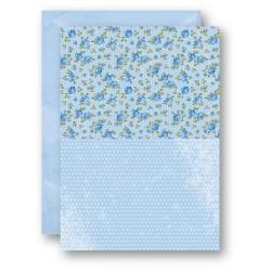 Papír na pozadí A4 - růžičky v modré
