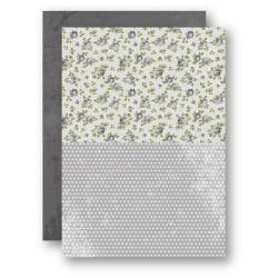 Papír na pozadí A4 - růžičky v šedé