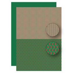 Papír na pozadí A4 - vánoční káro v zelenočervené
