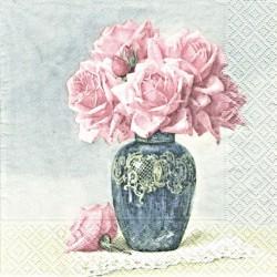 Růže ve váze s dekorem 33x33