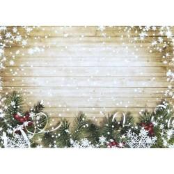 Karton 250g 24x34cm - Vánoční větvičky na dřevě