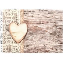 Rýžový papír A4 Dřevěné srdce, vintage krajka