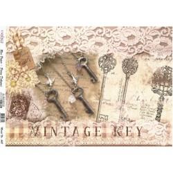 Rýžový papír A4 Vintage klíče, krajka