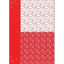 Papír na pozadí A4 - vánoční ozdoby v červené
