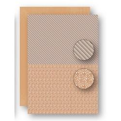 Papír na pozadí A4 - puntíky, proužky v přírodní hnědé